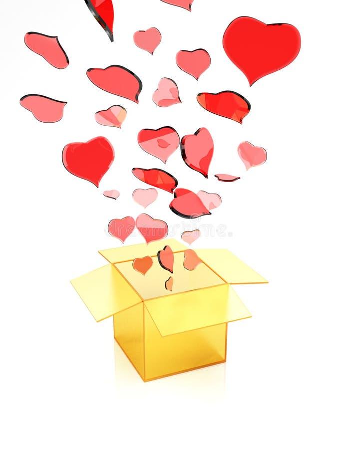 casella con i biglietti di S. Valentino illustrazione vettoriale