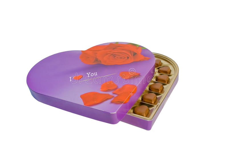casella con i cuori del cioccolato fotografia stock