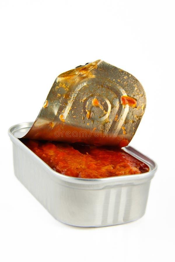 Casella con lo scombro in salsa di pomodori immagini stock libere da diritti