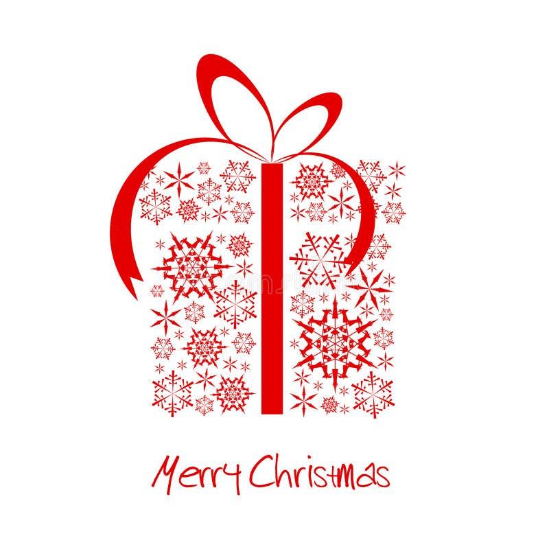 Casella del regalo di Natale fatta dai fiocchi di neve rossi royalty illustrazione gratis