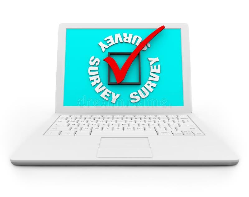 Casella di controllo e contrassegno di indagine su un computer portatile bianco illustrazione vettoriale