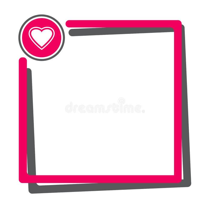 Casella di testo con il bottone di cuore Rosa e struttura grigio scuro per il vostro testo per il San Valentino Vettore illustrazione vettoriale