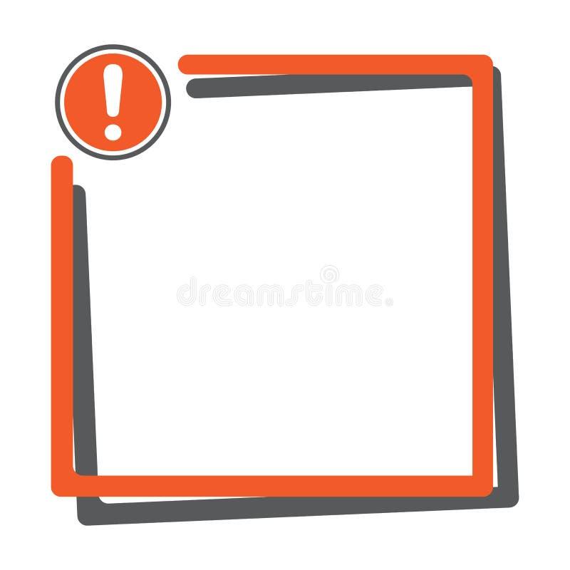Casella di testo con il bottone del punto esclamativo Illustrazione di vettore royalty illustrazione gratis