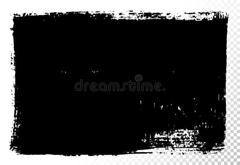 Casella di testo rettangolare Macchie di olio nere di vettore isolate su bianco Elementi strutturati disegnati a mano di progetta royalty illustrazione gratis