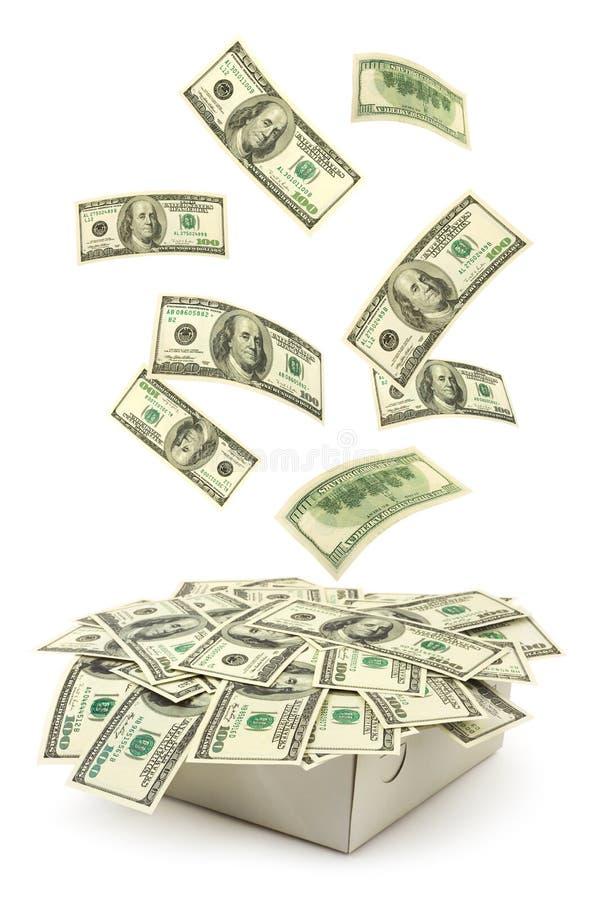 Casella e soldi di caduta immagine stock