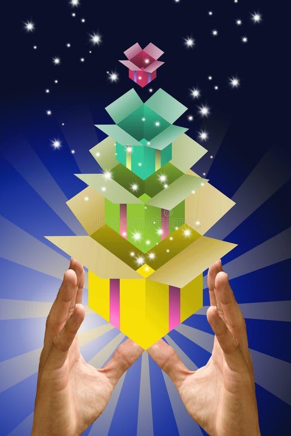 Casella magica con il contenitore di regalo all'interno a disposizione illustrazione vettoriale