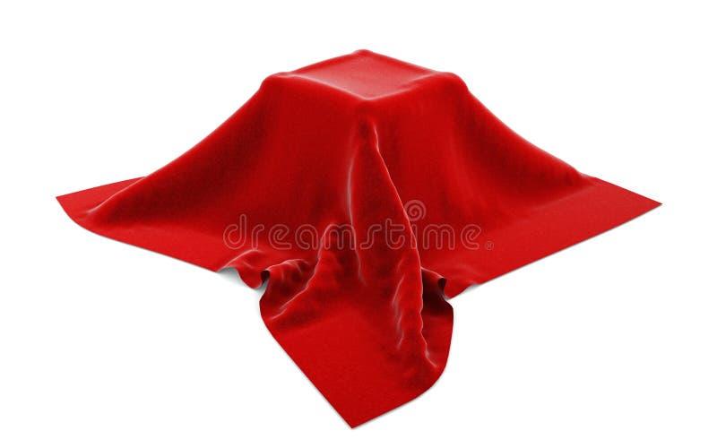 Casella nascosta sotto velluto rosso illustrazione di stock