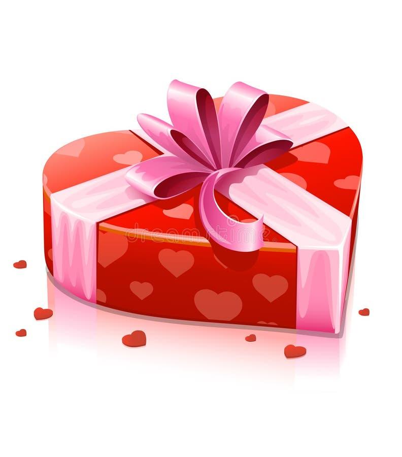 Casella rossa del cuore con il nastro illustrazione di stock