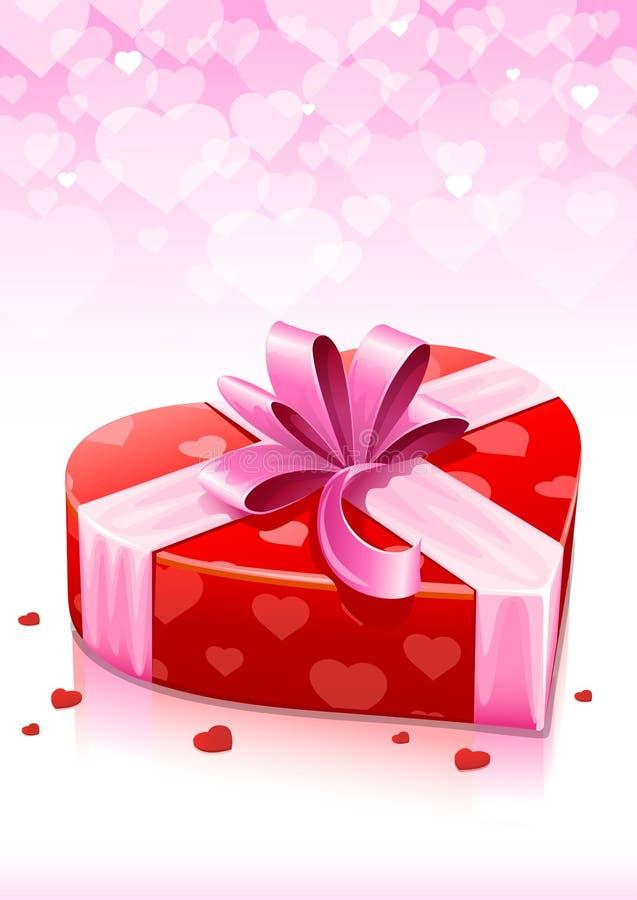 Casella rossa del cuore con la cartolina d'auguri dei biglietti di S. Valentino del nastro royalty illustrazione gratis