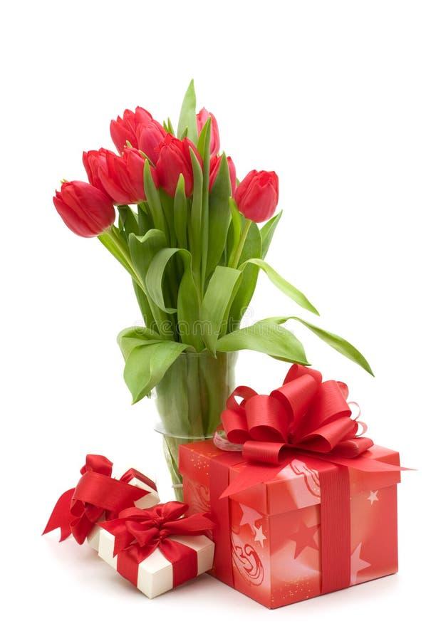 Casella rossa di regalo e del tulipano immagine stock libera da diritti