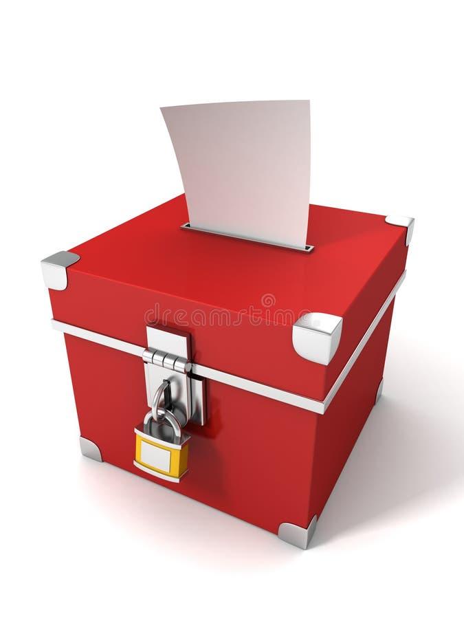 Casella rossa di voto con il documento del bollettino royalty illustrazione gratis
