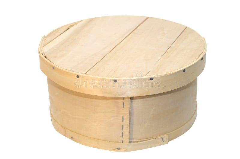 Casella rotonda di legno fotografie stock