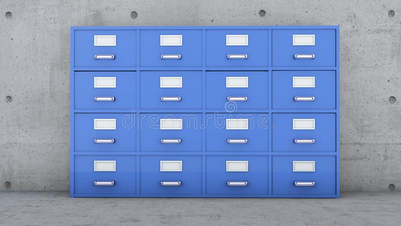 Casellario, collettori del documento, gabinetto del metallo con i cassetti ed etichette royalty illustrazione gratis