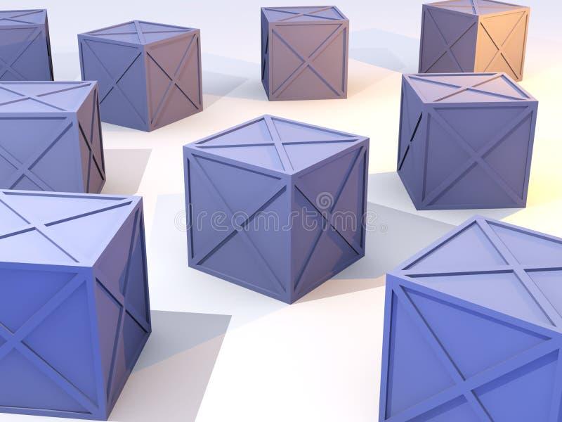 Caselle blu in azione illustrazione di stock