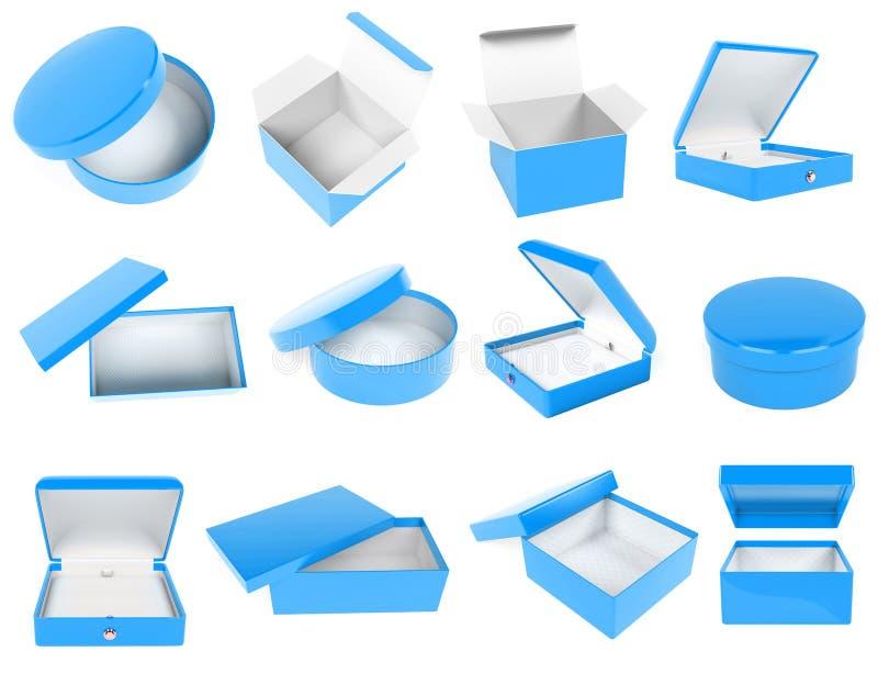 Caselle blu Cartoni, casi, imballanti illustrazione della rappresentazione 3d isolata illustrazione di stock
