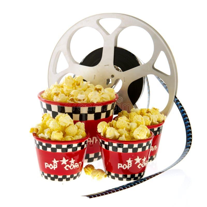 Caselle con popcorn ed il film immagini stock libere da diritti