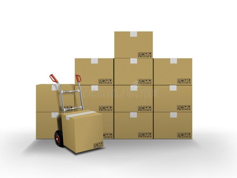 Caselle di consegna e camion di mano illustrazione vettoriale