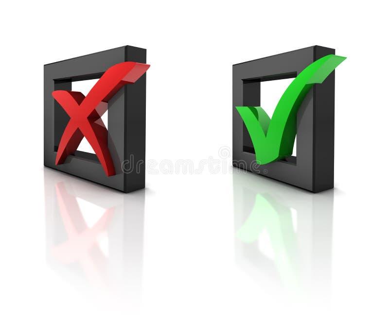 caselle di controllo 3D illustrazione di stock