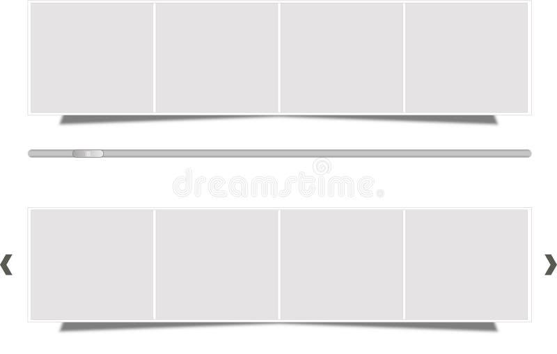 Caselle di proiezione di diapositive con il cursore immagini stock