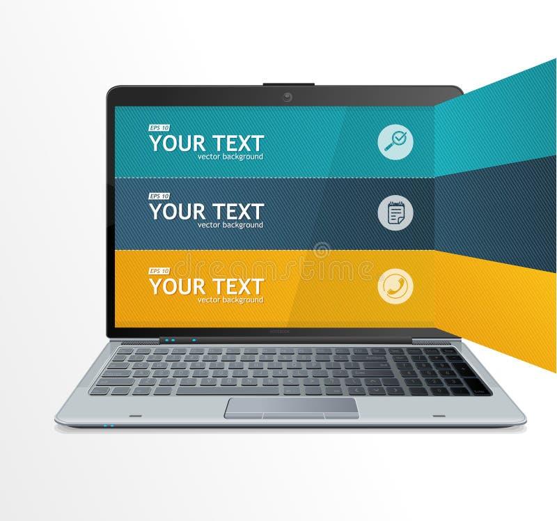 Caselle di testo, infographics sul computer portatile illustrazione di stock
