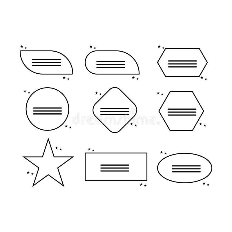Caselle di testo Nota colorata del testo del modello del fumetto della scatola di citazione illustrazione di stock