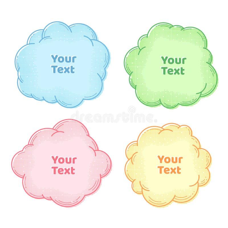 Caselle di testo raccolta, insieme delle bolle di pensiero e di discorso con il semitono, elemento di progettazione, struttura o  royalty illustrazione gratis