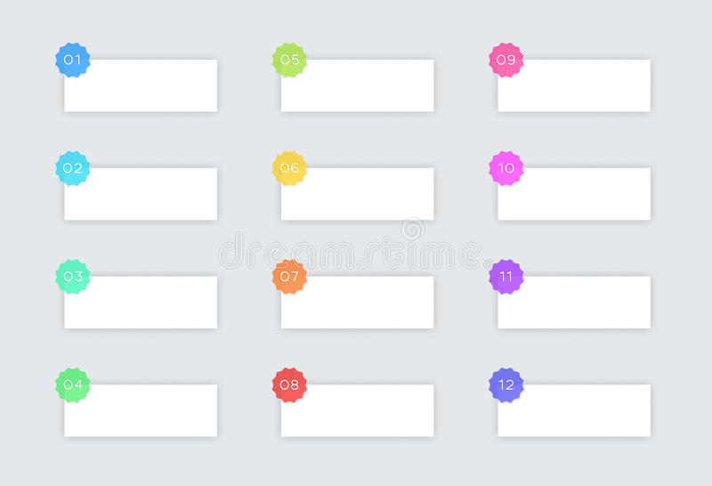 1 - 12 caselle di testo semplici di vettore con i distintivi e le ombre royalty illustrazione gratis