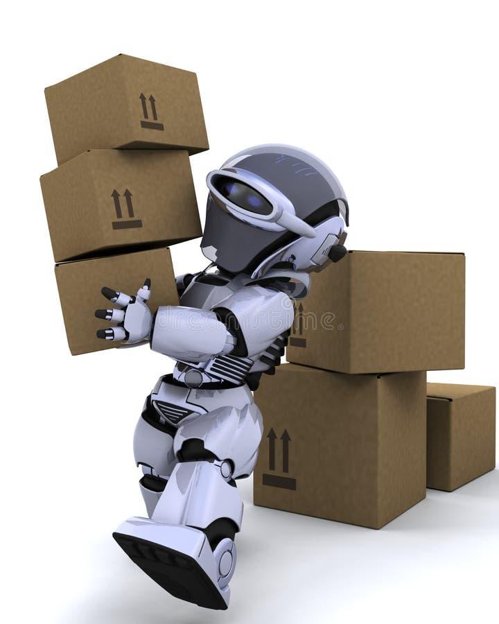 Caselle di trasporto commoventi del robot illustrazione di stock
