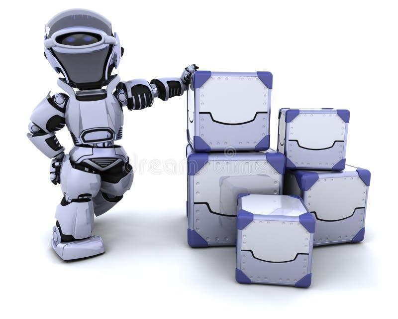 Caselle di trasporto commoventi del robot royalty illustrazione gratis