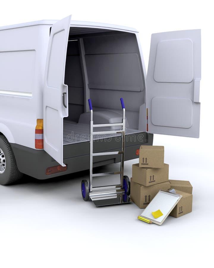 Caselle e furgone di consegna royalty illustrazione gratis