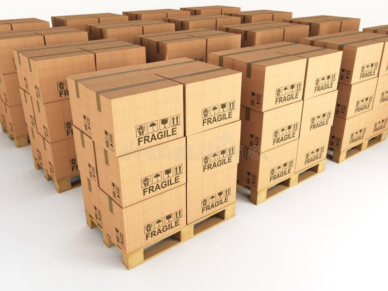 Caselle e pallet illustrazione di stock