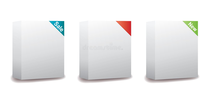 Caselle impaccanti in bianco del software illustrazione di stock