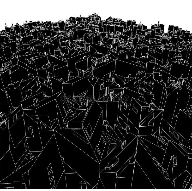 Caselle urbane astratte della città dal vettore 03 del cubo illustrazione di stock