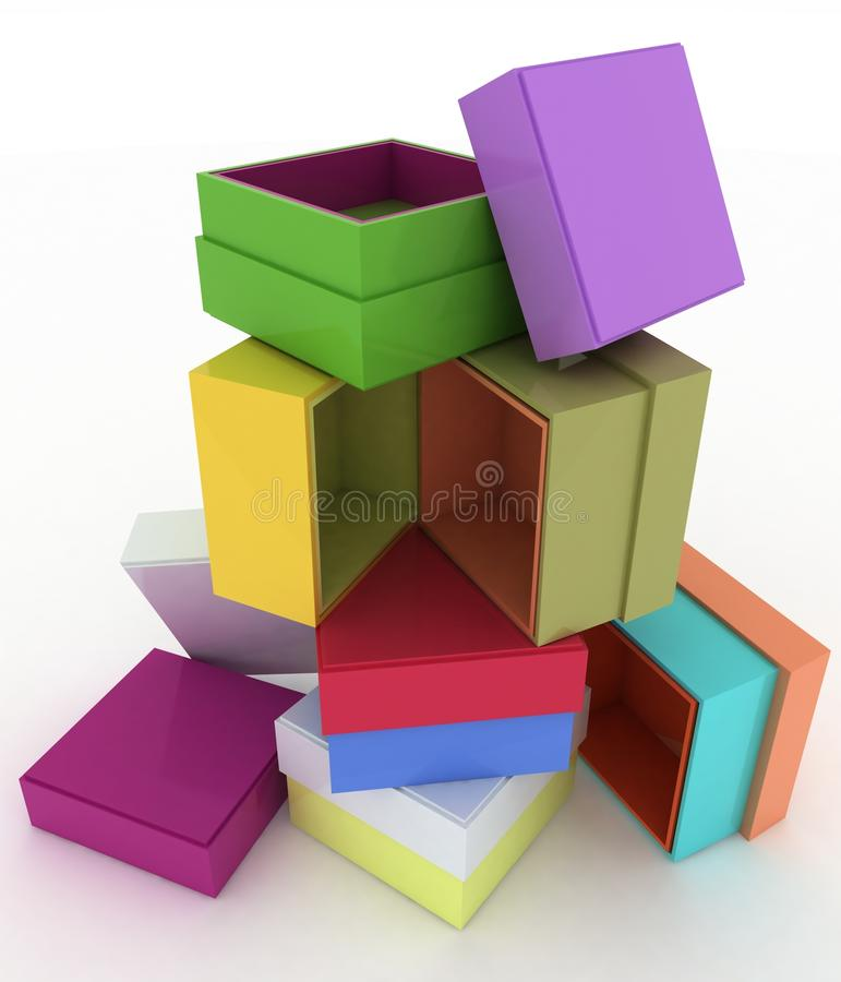 Caselle vuote con il coperchio per i regali illustrazione di stock