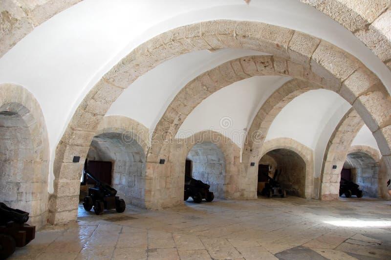 Casemate interior do bastião principal da torre de Belém imagem de stock royalty free