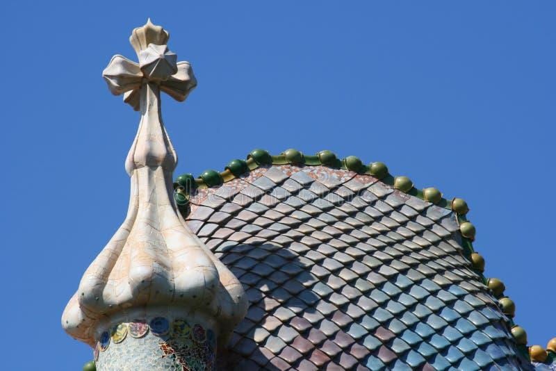 Casen Battlo Dach in Barcelona lizenzfreies stockbild