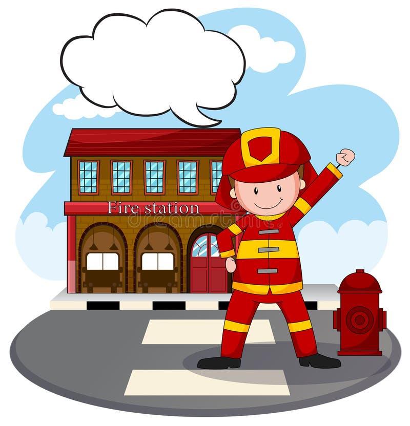 Caserne de pompiers illustration de vecteur
