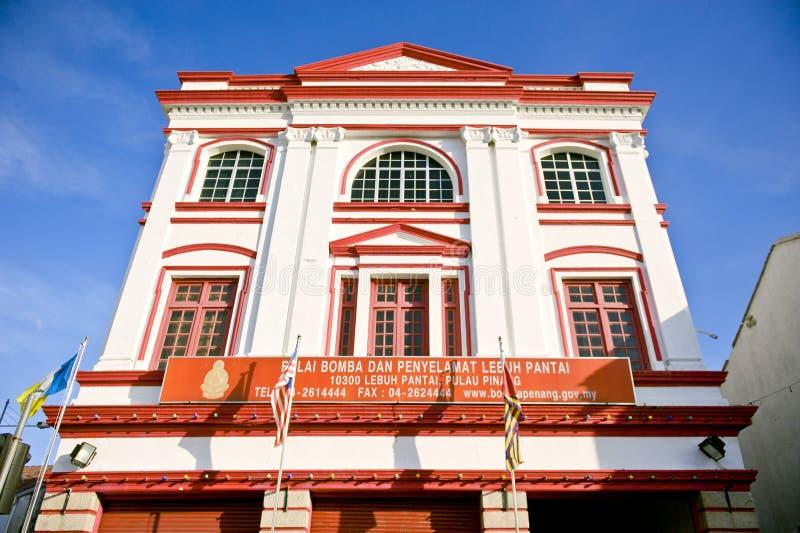 Caserne de pompiers de rue de plage, George Town, Penang, Malaisie photos libres de droits
