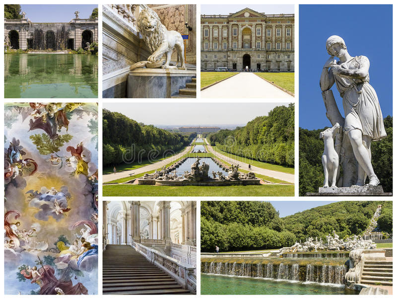 Caserta Royal Palace Collage royalty free stock photography