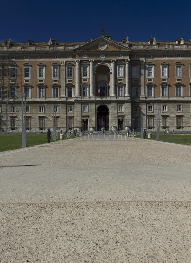 Caserta Royal Palace, main facade. It was constructed for the Bourbon kings of Naples in the 18th century. In 1997, the palace was designated a UNESCO World stock photos