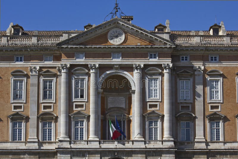 Caserta Royal Palace, main facade. It was constructed for the Bourbon kings of Naples in the 18th century. In 1997, the palace was designated a UNESCO World stock photo