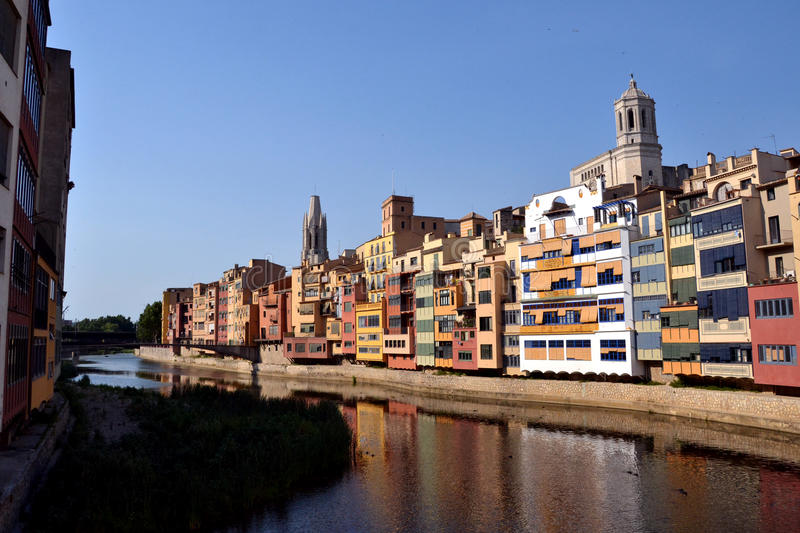 Cases de l'Onyar in Girona, Catalonia, Spain stock images