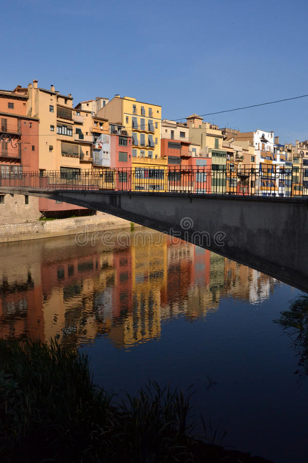 Cases de l'Onyar in Girona, Catalonia, Spain stock image