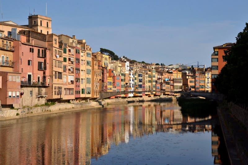 Cases de l'Onyar in Girona, Catalonia, Spain royalty free stock image