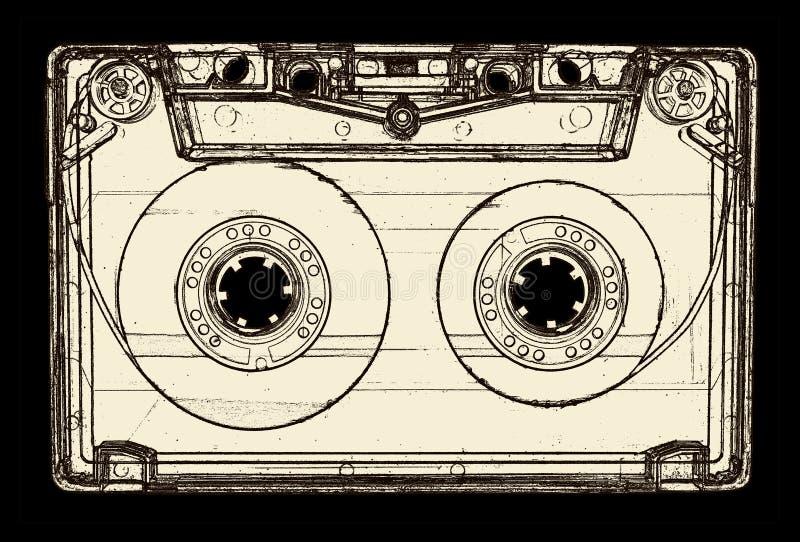 Casete audio aislado en blanco foto de archivo