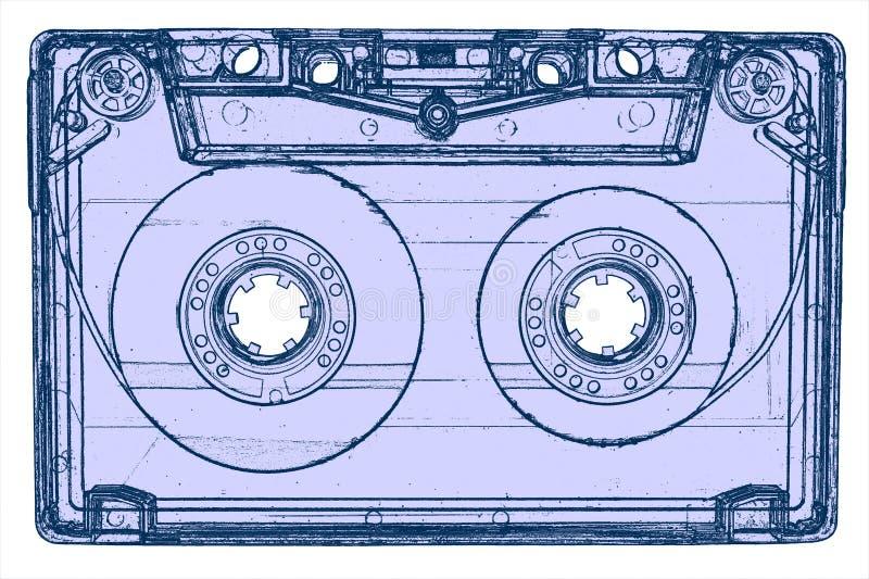 Casete audio aislado en blanco ilustración del vector