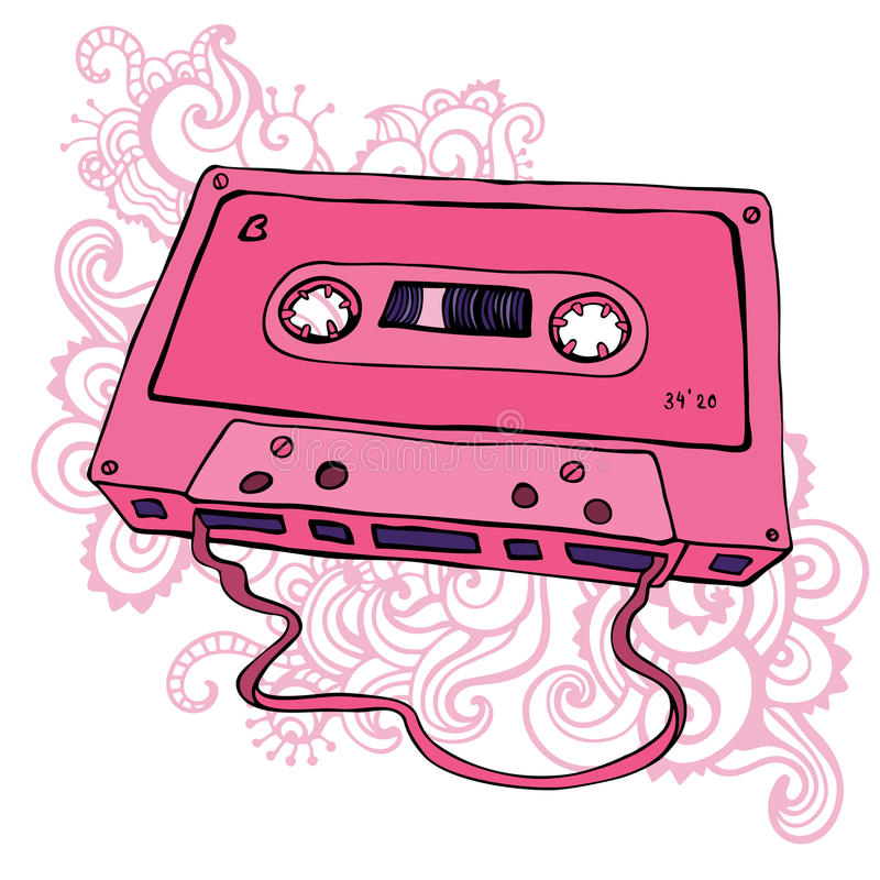 Casete audio. Cinta de casete retra libre illustration