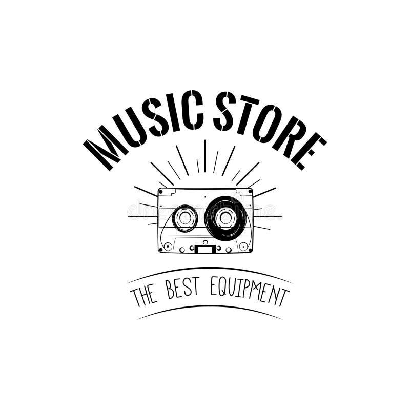 Casete audio, cinta del vinatage Tienda de la música, tienda de la música Ilustración del vector stock de ilustración