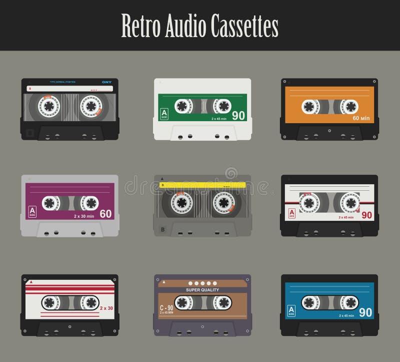 Casete audio Cintas planas ilustración del vector