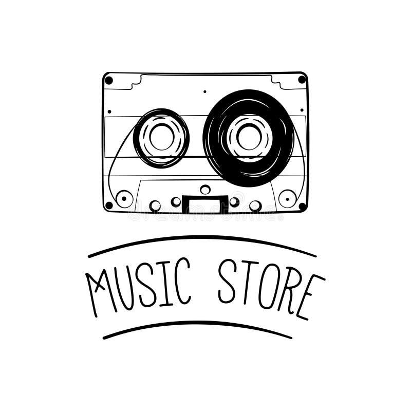 Casete audio, icono de la cinta Insignia de la etiqueta del logotipo de la tienda de la música Ilustración del vector ilustración del vector
